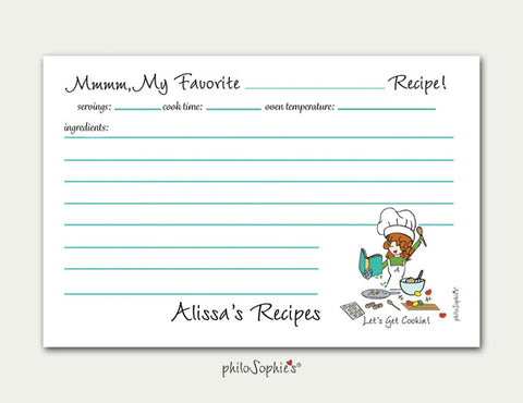 Personalized Let's Get Cookin' Recipe Cards - philoSophie's®