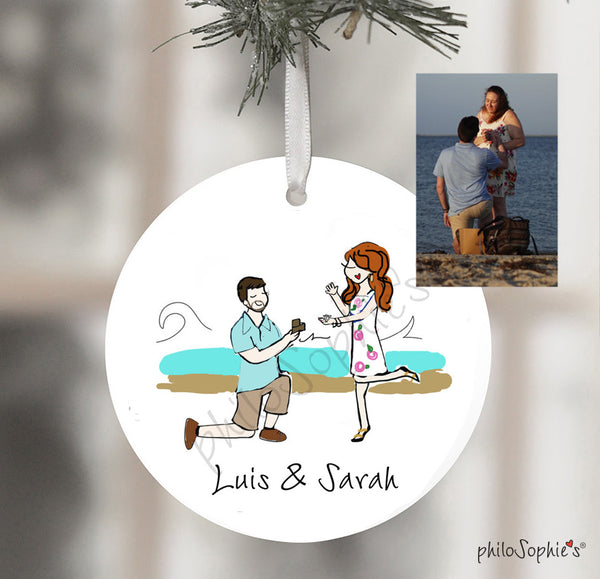 Lighthouse Beach - Martha's Vineyard Engagement Wine Tag/Ornament
