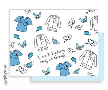 'Love & Kindness carry us through.' Greeting Card