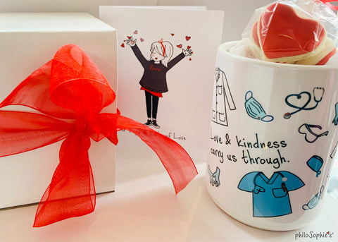 Love  & Kindness Carry Us Through- Thank You Health Heroes Mug with Cookies Gift Set