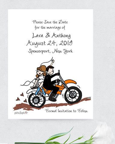 Wedding Save the Date with Couple and Background Illustration -  Magnets - philoSophie's®