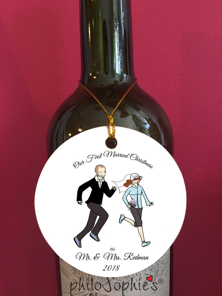 Our First Married Christmas Couple Running Wine Tag/Ornament