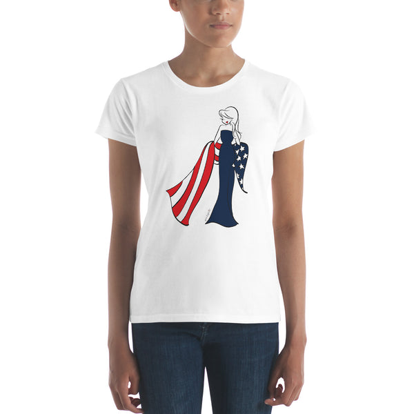 American Flag philoSophie's Women's fitted short sleeve t-shirt