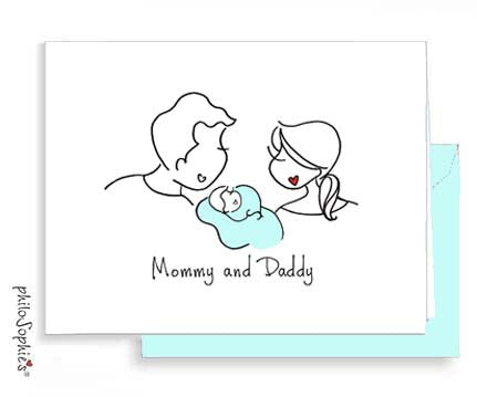 Mommy and Daddy - Baby Boy Greeting Card