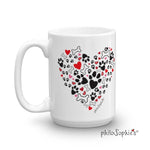 I Heart my Dog - Paw print heart mug - philoSophie's®