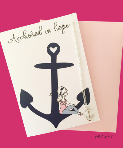 Anchored in Hope Greeting/Charm Necklace - philoSophie's®