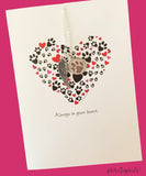 Always in your heart. Pet Sympathy Greeting/Charm Necklace