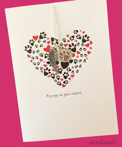 Always in your heart. Pet Sympathy Greeting/Charm Necklace - philoSophie's®