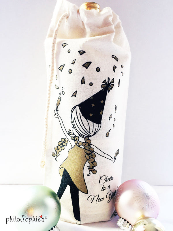 Cheers to the New Year Wine Tote - philoSophie's®
