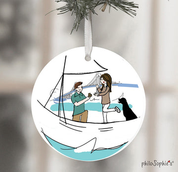 Newport, RI Sail Boat  Engagement Wine Tag/Ornament