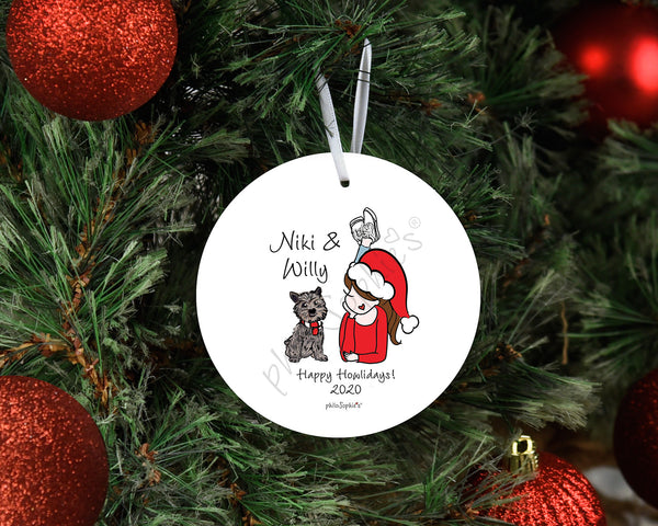 Pet - Holiday Spirit Sidekick, Dog or Cat Personalized Ornament