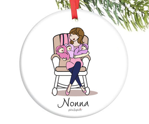 Personalized Grandmother Triplet Ornament