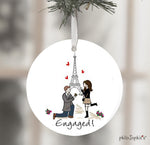 Personalized Eiffel Tower Paris Engagement Wine Bottle Tag / Ornament