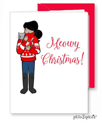 Customizable 'Meowy Christmas' Boxed Set of Holiday Cards