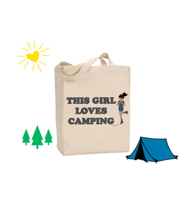 This Girl Loves Camping - PERSONALIZED philoSophie's Canvas Tote Bag