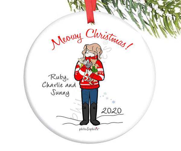 Meowy Christmas Personalized Ornament