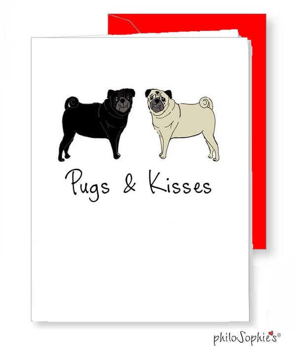 Pugs & Kisses Greeting Card