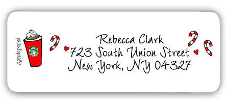 Coffee & Candy Canes - Return Address Labels - philoSophie's®