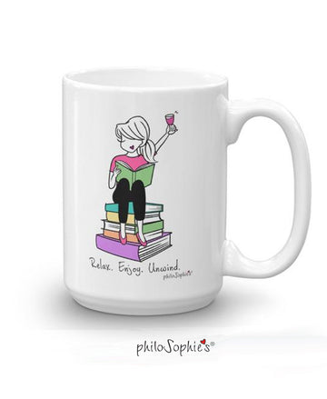Relax. Enjoy. Unwind. 15 ounce Ceramic Mug