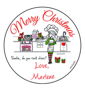 "of 2.5"" round personalized gift tag stickers - Santa's Helper"