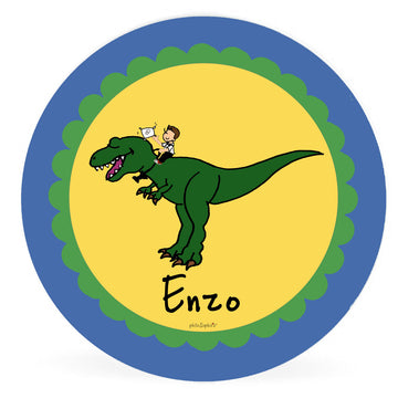 Personalized Ring Bearer Plate - T Rex Dinosaur