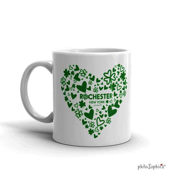 Love Rochester, NY Shamrocks & Hearts Mug
