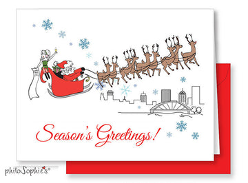 Season's Greetings Skyline: Rochester, NY Greeting Card