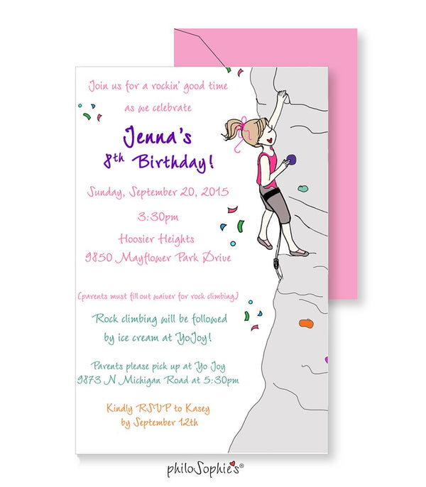 Birthday Invitation - Rock Climbing - philoSophie's®