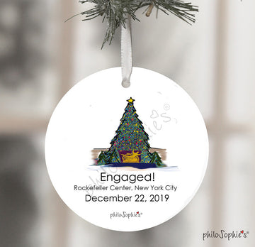 Rockefeller Center Christmas Tree Engagement Wine Tag/Ornament