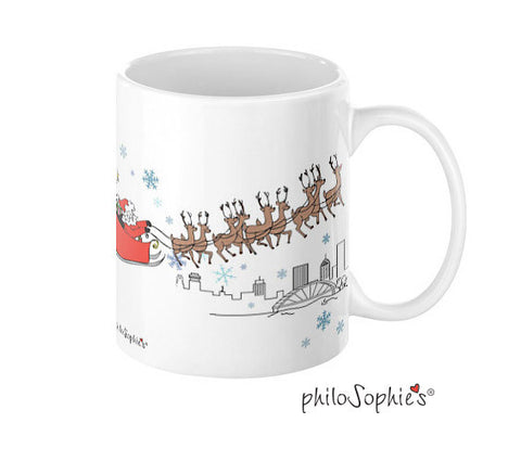 Sophie & Santa over the city mug - Rochester - philoSophie's®