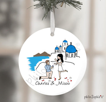 Santorini Engagement Wine Tag/ Ornament