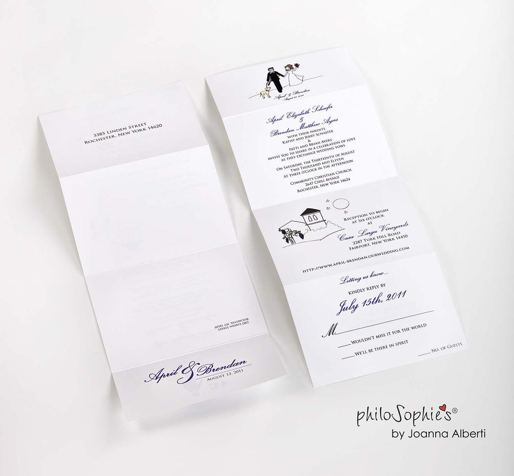 100 Seal & Send Wedding Invitations with Envelopes - philoSophie's®