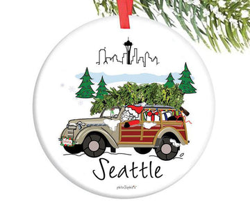 Santa in the City - Seattle Ornament