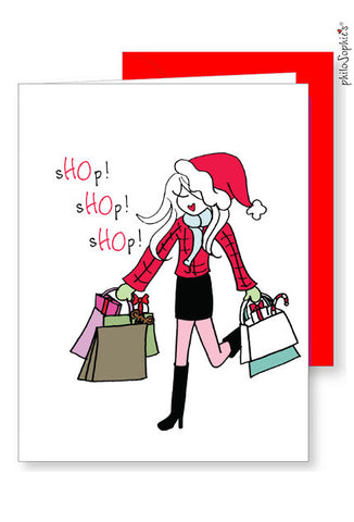 Personalized sHOp! sHOp! sHOp! Holiday Cards - philoSophie's®