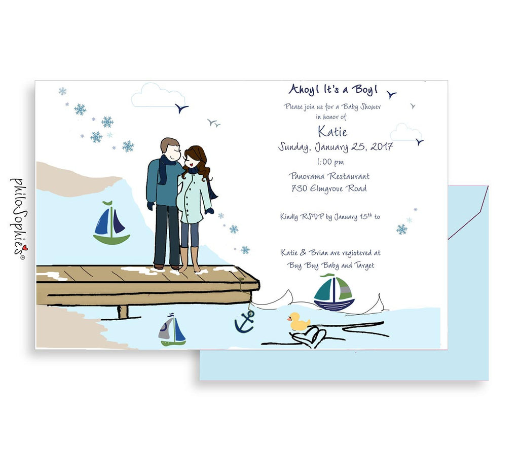 Personalized Baby Shower - Winter Sail Boats
