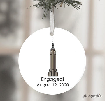Empire State Building Engagement Wine Tag/Ornament