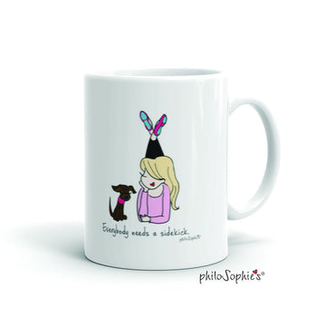 Everybody needs a sidekick mug -flats/hair down personalized mug