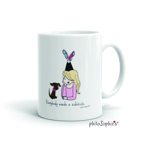 Everybody needs a sidekick mug -flats/hair down personalized mug - philoSophie's®