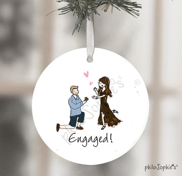 Custom Illustrated Engagement Christmas Tree Ornament - No Background