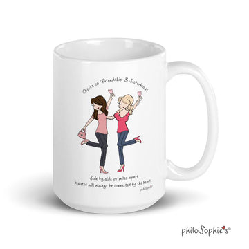 Sisters Connected By Heart - philoSophie's 15 Ounce Made in USA Mug