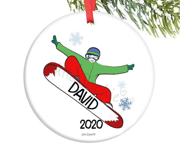 Snowboard 'Hometown' Boy Ornament