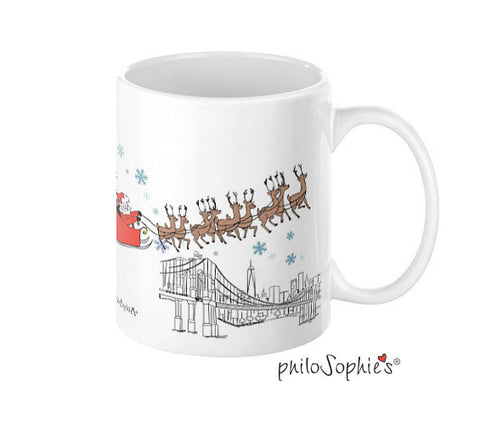 Sophie & Santa over the city mug - New York City - philoSophie's®