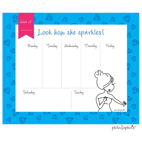 Sparkle Bridal Weekly Desk Pad