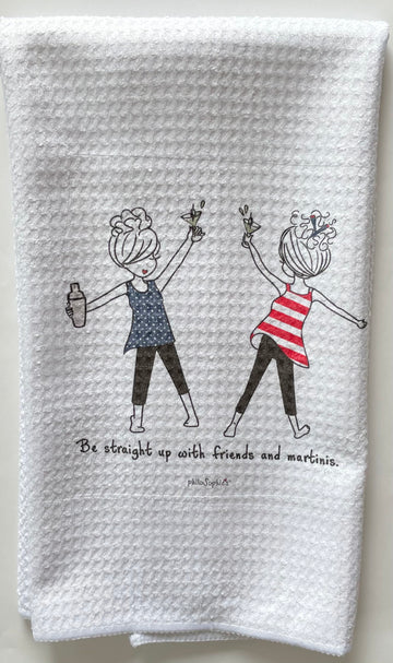 Be Straight Up with Friends & Martinis philoSophie's Waffle Kitchen Towel