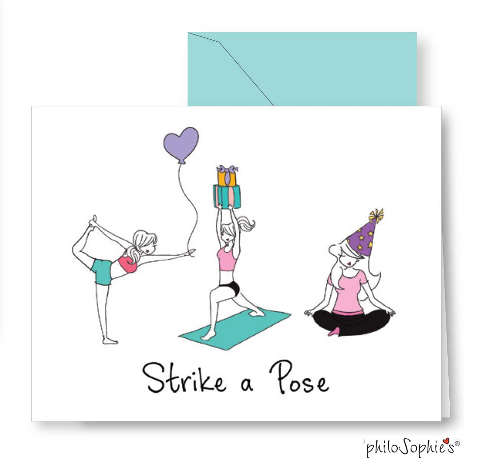 Strike your party pose yoga birthday card philoSophies