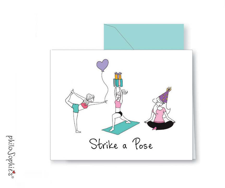 'Strike a Pose.' Yoga Happy Birthday Greeting Card