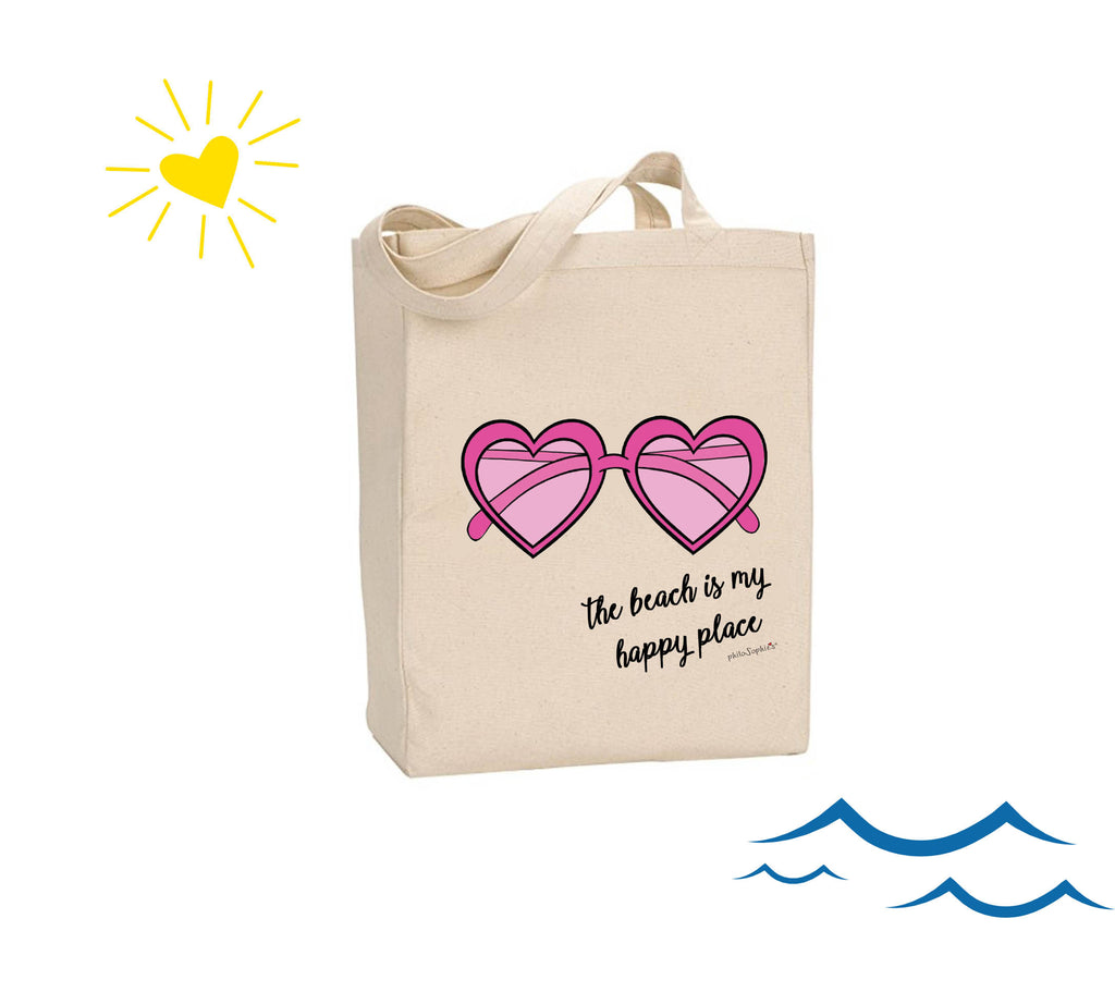 The beach is my happy place.- philoSophie's Canvas Tote Bag - philoSophie's®