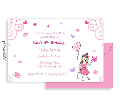 Birthday Invitation -Tea Party