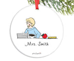 Teacher  at Desk Custom Ornament