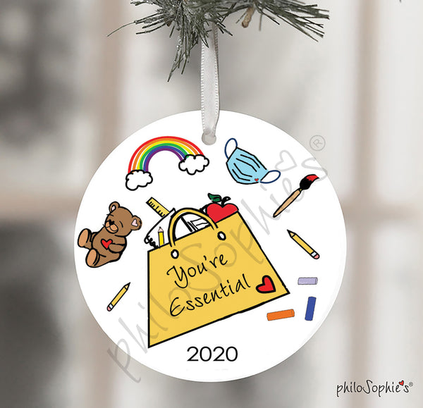 Essential Teacher Christmas Ornament Gift, Quarantined Gift for Teacher 2020